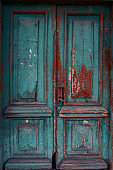 ancient blue and brown shabby  door