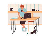 Man at kitchen with coffee working remotely. Male with notebook at home doing work. Remote job concept. Vector illustration design for remote employee. People, freelance, comfortable environment