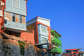 residential buildings with traditional carved wooden balconies on the rock of Tbilisi