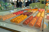 rows of multicolored macaroons