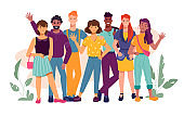 Cheerful crowd of multiracial millennial people waving hand and greeting. Friends of different nationalities and religions spending time together. Unity of multicultural, multiethnic diversity vector