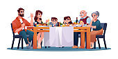 Family dinner, parents, grandparents and children at table enjoying food and drinks isolated. Vector big table with cooked meat, vegetables and wine. Son and daughter, man and woman, Christmas eve