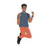 Smiling african american man jumping with backpack, fists up isolated college or university student. Vector businessman in casual cloth leaping of joy, handsome male character jumps in delight