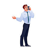 Man talking on phone, businessman call on mobile, vector isolated flat cartoon character. Businessman with happy or angry face talking on smartphone, business communication and work isolated icon
