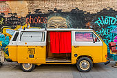 retro bus using as a photo booth in Fabrika modern public place