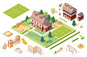 Set of isolated playground equipments and kindergarten or school building elements. Isometric soccer or football pitch, sandbox or sandpit, carousel and slide, swing and swedish ladder. Playschool