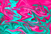 unique digital fluid art technique background in pink and turquoise colors