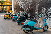 vintage   mopeds in the yard of Fabrika modern public place