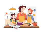 Family cooking breakfast or dinner together. Daughters helping mom to prepare food. Girls and mom wearing aprons with vegetables. Fun activities at home. Cartoon character, vector in flat style