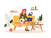 Mother work home with laptop, freelance online office, remote internet work, vector flat illustration. Woman at home online work sitting with computer and child on knees, freelancer or social isolation