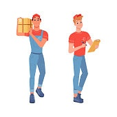 Delivery couriers delivering goods parcels and waybill for signature, vector flat isolated icons. Courier boy and man delivering express order from shop or store with waybill for delivery signature