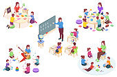 Kindergarten isometric vector elements, kids and teacher learning activity. Kindergarten educator teaching children alphabet and numbers on blackboard, learning sing and read book, preschool education