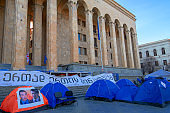 tent camp of the opposition in front of the government building