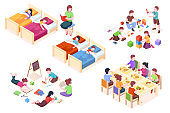Set of isolated illustration of children's kindergarten activity. Kids at sleep, child at dining table, boys and girls playing, preschool kinder study and read books. Woman teacher with her class