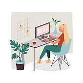 Woman at office or home working with computer. Girl doing remote job using PC. Lady employee or female designer with stickers. Cartoon freelancer with coffee. Freelance sign design