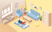 Woman lying on floor doing remote work at laptop. Female at home carpet with notebook doing freelance work. Isometric interior of living room with girl freelancer. Internet worker. Office overwork