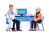 Old woman and general practitioner sitting at chairs near doctors table isolated. Vector therapist in white coat, stethoscope on neck, consulting female pensioner to prevent avoid coronavirus illness