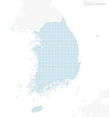 blue dotted South Korea map, large size.