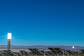 Solar Thermal Energy Power Plant on desert landscape in Southern California USA