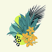 Composition of tropical plants and flowers. Botanical watercolor green exotic leaves. Coconut palm, monstera, banana tree, plumeria.