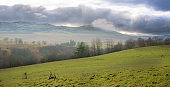 Perth and Kinross in Scotland - Scottish landscape from Old Military Road A822 in Perthshire - Hills, Forests, Misty Mountains