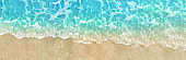 Close-Up of Blue Summer Water Wave Tide and Sea Foam Washing Up on Ocean Beach Shore Sand Texture Background