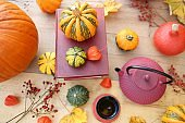 Thanksgiving holiday. Cozy tea party. International Book Day. Writer's day.Cup with tea, red teapot, books, assorted pumpkins set, autumn yellow leaves on a wooden table in the garden.picnic