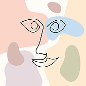 Sketch of human face on colored abstract background. Vector illustration drawn by hand.