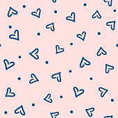 Romantic seamless pattern with scattered dots and hearts drawn by hand. Doodle, sketch. Cute repeated print. Simple vector illustration.