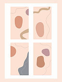 Set of abstract templates for social platforms. Modern vector illustration.