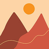 Flat landscape with mountains and sun. Modern art. Drawn by hand. Square vector illustration.