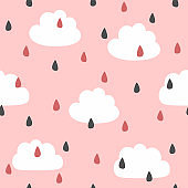 Cute seamless pattern with clouds and raindrops. Vector illustration.