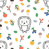 Cute seamless pattern with little hedgehog, apples and berries. Childish background with funny characters