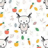 Cute seamless pattern with little deer and fruits. Childish background with funny characters