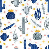 Cute hand drawn seamless pattern with cacti and succulent. Texture design perfect for fabric, wrapping paper, textile or wallpaper