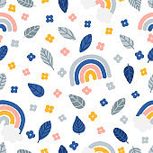 Cute summer seamless pattern with hand drawn elements. Leaves, flowers and rainbow. Print design great for fabric, wrapping paper, textile