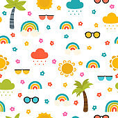 Colorful summer seamless pattern with hand drawn elements. Sun, palm tree, rainbow. Fashion print design great for fabric, wrapping, textile