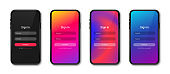 UI concept, login and sign in form page for mobile app. Realistic smartphone mockup and UI screen design. User login form