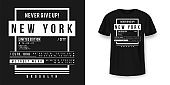 T-shirt graphic design in minimalistic style. New York City typography t shirt and apparel design. Urban and authentic print on t-shirt mockup