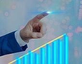 Man Smartphone Illustrating Ascending Trends Performance Bar Graph Increasing Annual Profits. Showing Upward Growth Escalating Movement Rising Financial Stock Chart Status Report.