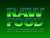 Vector Green logo Raw Food with Leaf pattern Alphabet Letters and Numbers