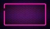 Neon sign in rectangle shape. Bright neon light, illuminated rectangle frame. Glowing purple neon tube on dark background. Signboard or banner template in 80s and 90s style. Vector