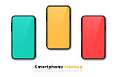 Realistic phone mockup. Set of modern phones with yellow, red and blue displays. Smartphone design mockup in front view. Presentation background template