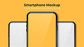 Realistic phone mockup. Set of modern phones with blank yellow and transparent display. Smartphone design mockup in front view. Presentation background template