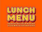 Vector bright template Lunch Menu with trendy Font. Orange retro Alphabet
