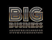 Vector chic sign Big Business with Premium Font. Textured Black and Gold Alphabet