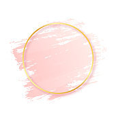 Pink brush stroke with golden round frame. Abstract pink brush stroke texture and luxury gold frame. Design element for cosmetic, fashion and beauty industry