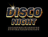 Vector party flyer Disco Night. 3D Black and Gold Alphabet Letters and Numbers set