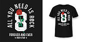 Rock and Roll t-shirt design. Red roses between typography. Vintage rock music style graphic for t-shirt print, slogan t-shirt print