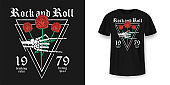 Rock and Roll t-shirt design. Skeleton hand is holding red roses. Vintage rock music style graphic for t-shirt print, slogan t-shirt print
